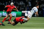 20 October 2018; Olivier Klemenczak of Racing 92 is tackled by Marty Moore of Ulster during the Heineken Champions Cup Pool 4 Round 2 match between Racing 92 and Ulster at Paris La Defence Arena, in Paris, France. Photo by John Dickson/Sportsfile