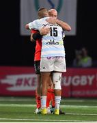 20 October 2018; Simon Zebo of Racing 92 and Rory Best of Ulster embrace after the Heineken Champions Cup Pool 4 Round 2 match between Racing 92 and Ulster at Paris La Defence Arena, in Paris, France. Photo by Brendan Moran/Sportsfile