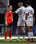 20 October 2018; Michael Lowry of Ulster speaks to Simon Zebo of Racing 92 after the Heineken Champions Cup Pool 4 Round 2 match between Racing 92 and Ulster at Paris La Defence Arena, in Paris, France. Photo by Brendan Moran/Sportsfile