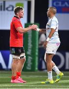 20 October 2018; Jordi Murphy of Ulster with Simon Zebo of Racing 92 after the Heineken Champions Cup Pool 4 Round 2 match between Racing 92 and Ulster at Paris La Defence Arena, in Paris, France. Photo by Brendan Moran/Sportsfile