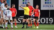 20 October 2018; Referee Nigel Owens blows the final whistle during the Heineken Champions Cup Pool 4 Round 2 match between Racing 92 and Ulster at Paris La Defence Arena, in Paris, France. Photo by Brendan Moran/Sportsfile