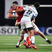 20 October 2018; Marcell Coetzee of Ulster is tackled by Ben Volavola and Dominic Bird of Racing 92 during the Heineken Champions Cup Pool 4 Round 2 match between Racing 92 and Ulster at Paris La Defence Arena, in Paris, France. Photo by Brendan Moran/Sportsfile