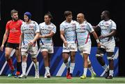 20 October 2018; Simon Zebo of Racing 92, 2nd from right, celebrates after scoring his side's fifth try during the Heineken Champions Cup Pool 4 Round 2 match between Racing 92 and Ulster at Paris La Defence Arena, in Paris, France. Photo by Brendan Moran/Sportsfile