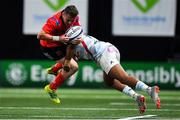 20 October 2018; Michael Lowry of Ulster is tackled by Teddy Thomas of Racing 92 during the Heineken Champions Cup Pool 4 Round 2 match between Racing 92 and Ulster at Paris La Defence Arena, in Paris, France. Photo by Brendan Moran/Sportsfile