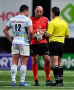 20 October 2018; Referee Nigel Owens speaks to Henry Chavancy of Racing 92 and Rory Best of Ulster during the Heineken Champions Cup Pool 4 Round 2 match between Racing 92 and Ulster at Paris La Defence Arena, in Paris, France. Photo by Brendan Moran/Sportsfile