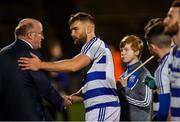 20 October 2018; Breaffy captain Aidan O'Shea shakes hands with Uachtarán Chumann Lúthchleas Gael John Horan before the Mayo County Senior Club Football Championship Final match between Breaffy and Ballintubber at Elverys MacHale Park, in Castlebar, Mayo. Photo by Piaras Ó Mídheach/Sportsfile