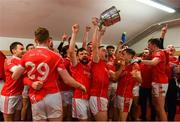 20 October 2018; Ballintubber players celebrate with the Paddy Moclair Cup in the dressing room after the Mayo County Senior Club Football Championship Final match between Breaffy and Ballintubber at Elverys MacHale Park, in Castlebar, Mayo. Photo by Piaras Ó Mídheach/Sportsfile