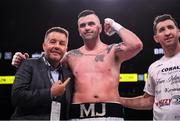 20 October 2018; Niall Kennedy celebrates with Ken Casey of Murphy's Boxing promotions after winning his heavyweight bout against Brendan Barrett at TD Garden in Boston, Massachusetts, USA. Photo by Stephen McCarthy/Sportsfile