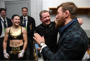 20 October 2018; UFC fighter Conor McGregor with Katie Taylor and her manager Brian Peters following her WBA & IBF Female Lightweight World title bout against Cindy Serrano at TD Garden in Boston, Massachusetts, USA. Photo by Stephen McCarthy/Sportsfile