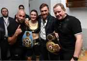 20 October 2018; UFC fighter Conor McGregor with Katie Taylor, her manager Brian Peters and trainer Ross Enamait following her WBA & IBF Female Lightweight World title bout against Cindy Serrano at TD Garden in Boston, Massachusetts, USA. Photo by Stephen McCarthy/Sportsfile