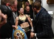20 October 2018; UFC fighter Conor McGregor with Katie Taylor following her WBA & IBF Female Lightweight World title bout against Cindy Serrano at TD Garden in Boston, Massachusetts, USA. Photo by Stephen McCarthy/Sportsfile