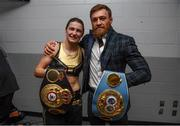 20 October 2018; UFC fighter Conor McGregor poses with Katie Taylor following her WBA & IBF Female Lightweight World title bout against Cindy Serrano at TD Garden in Boston, Massachusetts, USA. Photo by Stephen McCarthy/Sportsfile