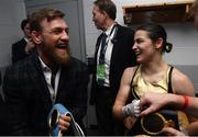 20 October 2018; UFC fighter Conor McGregor shares a joke with Katie Taylor following her WBA & IBF Female Lightweight World title bout against Cindy Serrano at TD Garden in Boston, Massachusetts, USA. Photo by Stephen McCarthy/Sportsfile