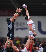 20 October 2018; Jono Ross of Sale Sharks wins a lineout ahead of Ultan Dillane of Connacht during the Heineken Challenge Cup Round Pool 3 Round 2 match between Sale and Connacht at AJ Bell Stadium, in Salford, England. Photo by Harry Murphy/Sportsfile