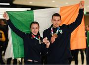 21 October 2018; Sean McCarthy-Crean of Team Ireland, from Cloghroe, Cork, with his bronze medal from the men's Kumite, +65KG, right, and Dearbhla Rooney of Team Ireland, from Manorhamilton, Leitrim, with her bronze medal from the women's featherweight boxing on their return from the Youth Olympic Games in Buenos Aires at Dublin Airport in Dublin. Photo by Eóin Noonan/Sportsfile