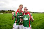21 October 2018; Carnacon captain Michelle McGing, right and Cora Staunton celebrate following the Mayo County Senior Club Ladies Football Final match between Carnacon and Knockmore at Kilmeena GAA Club in Mayo. Photo by David Fitzgerald/Sportsfile