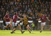 21 October 2018; Shane McVeety of Crosserlough in action against Cormac Daly, left, Pauric Smith, centre, and Shane McSweeney of Castlerahan during the Cavan County Senior Club Football Championship Final match between Castlerahan and Crosserlough at Kingspan Breffni Park in Cavan. Photo by Seb Daly/Sportsfile