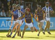 21 October 2018; Aidan Mellett of Ballyboden St Enda's in action against Lorcán McMullan of Kilmacud Crokes during the Dublin County Senior Club Hurling Championship Final match between Kilmacud Crokes and Ballyboden St Enda's at Parnell Park, in Dublin. Photo by Daire Brennan/Sportsfile