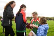 21 October 2018; Cora Staunton of Carnacon signs autographs following the Mayo County Senior Club Ladies Football Final match between Carnacon and Knockmore at Kilmeena GAA Club in Mayo. Photo by David Fitzgerald/Sportsfile