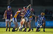 21 October 2018; Niall McMorrow of Ballyboden St Enda's in action against Ryan O'Dwyer, left, and Niall Corcoran of Kilmacud Crokes during the Dublin County Senior Club Hurling Championship Final match between Kilmacud Crokes and Ballyboden St Enda's at Parnell Park, in Dublin. Photo by Daire Brennan/Sportsfile