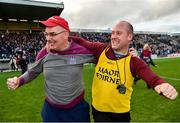 21 October 2018; Castlerahan manager Donal Keogan, left, celebrates with coach Martin Corey following their side's victory during the Cavan County Senior Club Football Championship Final match between Castlerahan and Crosserlough at Kingspan Breffni Park in Cavan. Photo by Seb Daly/Sportsfile