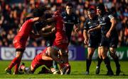 21 October 2018; James Lowe of Leinster is tackled by Sébastien Bézy and Cheslin Kolbe of Toulouse during the Heineken Champions Cup Pool 1 Round 2 match between Toulouse and Leinster at Stade Ernest Wallon, in Toulouse, France. Photo by Brendan Moran/Sportsfile