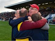 21 October 2018; Castlerahan manager Donal Keogan, facing, celebrates with backroom staff following their side's victory during the Cavan County Senior Club Football Championship Final match between Castlerahan and Crosserlough at Kingspan Breffni Park in Cavan. Photo by Seb Daly/Sportsfile
