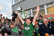 21 October 2018; Niall Friel of Gaoth Dobhair holds aloft the Maguire cup after the Donegal County Senior Club Football Championship Final match between Naomh Conaill Glenties and Gaoth Dobhair at MacCumhaill Park, in Ballybofey, Donegal. Photo by Oliver McVeigh/Sportsfile