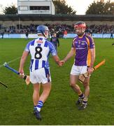 21 October 2018; Damien Kelly of Kilmacud Crokes shakes hands with Finn McGarry of Ballyboden St Enda's after the Dublin County Senior Club Hurling Championship Final match between Kilmacud Crokes and Ballyboden St Enda's at Parnell Park, in Dublin. Photo by Daire Brennan/Sportsfile