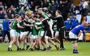 21 October 2018; Kevin Cassidy, left, and the Gaoth Dobhair players celebrate after the final whistle in the Donegal County Senior Club Football Championship Final match between Naomh Conaill Glenties and Gaoth Dobhair at MacCumhaill Park, in Ballybofey, Donegal. Photo by Oliver McVeigh/Sportsfile