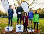 21 October 2018; Deputy Mayor of Fingal Cllr. Grainne Maguire with Senior Men's top 4, Sean Tobin of Clonmel A.C., Co. Tipperary, centre, Kevin Dooney of Raheny Shamrock A.C., Co. Dublin, left, Kevin Maunsell of Clonmel A.C., Co. Tipperary, right, and Gideon Kipsang Kimosop of Kenya, far right, during the Autumn Open International Cross Country Festival at the National Sports Campus in Abbottstown, Dublin. Photo by Harry Murphy/Sportsfile