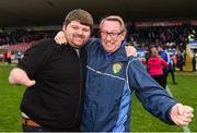 21 October 2018; Coalisland Fianna manager Damien O'Hagan and Johnny Commons during the Tyrone County Senior Club Football Championship Final match between Coalisland Fianna and Killyclogher St Mary's at Healy Park, Omagh, in Tyrone. Photo by Philip Fitzpatrick/Sportsfile