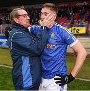 21 October 2018; Coalisland Fianna manager Damien O'Hagan and Cormac O'Hagan during the Tyrone County Senior Club Football Championship Final match between Coalisland Fianna and Killyclogher St Mary's at Healy Park, Omagh, in Tyrone. Photo by Philip Fitzpatrick/Sportsfile