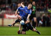 21 October 2018; Eoin Bradley of Killyclogher in action against Peter Herron of Coalisland during the Tyrone County Senior Club Football Championship Final match between Coalisland Fianna and Killyclogher St Mary's at Healy Park, Omagh, in Tyrone. Photo by Philip Fitzpatrick/Sportsfile