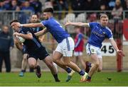 21 October 2018; Emmett McFadden of Killyclogher in action against Padraig Hampsey of Coalisland during the Tyrone County Senior Club Football Championship Final match between Coalisland Fianna and Killyclogher St Mary's at Healy Park, Omagh, in Tyrone. Photo by Philip Fitzpatrick/Sportsfile