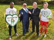 22 October 2018; The Football Association of Ireland have teamed up with Brendan & Jenny O'Carroll from Mrs. Brown's Boys, to provide cardiac screening to all childrenand adolescents from the National League squads. At grassroots level, the initiative will train all coaches around the country in the use of defibrillators, CPR and basic life support. This training is accredited by the Irish Heart Foundation. The FAI began cardiac screening of the Republic of Ireland Under-15 players in 2007 and then extended that to cover domesticleague players the following year. This initiative will involve the screening of players in the U-13, U-15, U-17 & U-19 tiers, as well as the U-17s in the Women's National League. Pictured at the launch are, from left, Peter Adigun of Bohemians U19, creator of Mrs. Brown's Boys Brendan O'Carroll, Dr Alan Byrne, FAI Medical Director & Senior Men's Team Doctor and Oleta Griffin of Shelbourne U17, at the FAI National Training Centre in Abbotstown, Dublin.  Photo by Seb Daly/Sportsfile