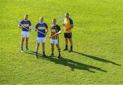 22 October 2018; Kilkenny goalkeeper Eoin Murphy, second from left, with former Tipperary players from left, Paddy Stapleton, Lar Corbett, and Brendan Cummins at the launch of the Tipperary v Kilkenny: The Legends Return — a benefit match for Amanda Stapleton. Henry Shefflin, Tommy Walsh, Lar Corbett, Eoin Kelly and a host of current stars will line out for this fantastic cause on November 3rd in Borrisoleigh GAA, Co Tipperary — get your adults tickets for just €20 in Centra or on Tickets.ie; Under-16s are free. https://secure.tickets.ie/Listing/EventInformation/39036/amanda-stapleton-benefit-match-tipperary-v-kilkenny-bishop-quinlan-park-3-November-2018 during an Amanda Stapleton Benefit Match media event at Borrisoleigh GAA Club in Borrisoleigh, Tipperary. Photo by Piaras Ó Mídheach/Sportsfile