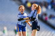 22 October 2018; Ali Henry, left, and Izzy Dowling of Scoil Mhuire, Sandymount, Co. Dublin, celebrate a goal during day 1 of the Allianz Cumann na mBunscol Finals at Croke Park in Dublin.  Photo by Sam Barnes/Sportsfile