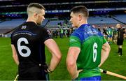 22 October 2018; Pádraic Maher of An Garda Síochána, left, and Paul Murphy of The Irish Defence Forces in conversation after the President's Cup match between The Irish Defence Forces and An Garda Síochána at Croke Park in Dublin.  Photo by Piaras Ó Mídheach/Sportsfile