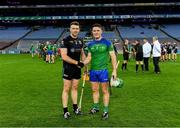 22 October 2018; Pádraic Maher of An Garda Síochána, left, and Paul Murphy of The Irish Defence Forces shake hands after the President's Cup match between The Irish Defence Forces and An Garda Síochána at Croke Park in Dublin.  Photo by Piaras Ó Mídheach/Sportsfile