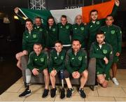 22 October 2018; The Ireland Amputee Squad were pictured today prior to departing for the 2018 Amputee Football World Cup in Mexico. Ireland will play against Mexico, England and Uruguay in Group A, between 27-30th October. Pictured are, back row from left, Chris McElligott, Justin Guiney, Ruairi Murphy, James Conroy, Simon Baker, Fergal Duffy, James Boyle and Stefan Balog, front row from left, Garry Hoey, Neil Hoey and Kévan O'Rourke, at the Maldron Hotel in Dublin Airport. Photo by Seb Daly/Sportsfile
