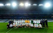 22 October 2018; The Irish Defence Forces squad and management team with the cup after winning the John Morley Memorial Cup match between The Irish Defence Forces and An Garda Síochána at Croke Park in Dublin.  Photo by Piaras Ó Mídheach/Sportsfile