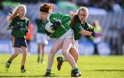 22 October 2018;  Katie Teefy of Ballyboughal NS in action against Holly Ní Ruairc of Gaelscoil Bhaile Brigín during day 1 of the Allianz Cumann na mBunscol Finals at Croke Park in Dublin.  Photo by Sam Barnes/Sportsfile