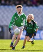 22 October 2018;  Katie Teefy of Ballyboughal NS in action against Hannah Ní Mhórdha of Gaelscoil Bhaile Brigín during day 1 of the Allianz Cumann na mBunscol Finals at Croke Park in Dublin.  Photo by Sam Barnes/Sportsfile