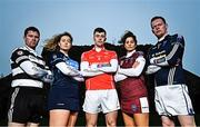 23 October 2018; At the launch of the AIB Camogie and Club Championship are, from left, Midleton and Cork Senior Hurler Conor Lehane, Naomh Jude and Dublin Senior Camogie goalkeeper Faye McCarthy, Ballintubber and Mayo footballer Diarmuid O'Connor, St Martin's and Wexford camogie player Mags D'Arcy and Scotstown and Monaghan goalkeeper Rory Beggan. This is AIB's 28th year sponsoring the AIB GAA Football, Hurling and their 6th year sponsoring the Camogie Club Championships. For exclusive content and behind the scenes action throughout the AIB GAA & Camogie Club Championships follow AIB GAA on Facebook, Twitter, Instagram and Snapchat.   Photo by Ramsey Cardy/Sportsfile