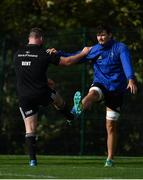 23 October 2018; Michael Bent, left, and Max Deegan during Leinster Rugby squad training at UCD Belfield in Dublin. Photo by Brendan Moran/Sportsfile