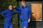 23 October 2018; Senior coach Stuart Lancaster, left, and head coach Leo Cullen during Leinster Rugby squad training at UCD Belfield in Dublin. Photo by Brendan Moran/Sportsfile