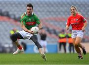 23 October 2018; Michael Darragh Macauley, Dublin footballer, gets past Anna Geary, former Cork camogie player, during the Charity Croke Park Challenge 2018 Self Help Africa match between Cork and Mayo at Croke Park in Dublin. Photo by Piaras Ó Mídheach/Sportsfile