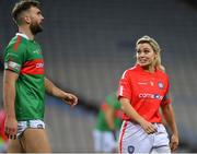 23 October 2018; Aidan O'Shea, Mayo footballer, and Anna Geary, former Cork camogie player, during the Charity Croke Park Challenge 2018 Self Help Africa match between Cork and Mayo at Croke Park in Dublin. Photo by Piaras Ó Mídheach/Sportsfile