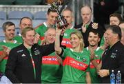 23 October 2018; Winning Mayo captain Cora Staunton and her managers Enda Kenny, former Taoiseach and former leader of Fine Gael, left, and former Mayo football manager John O'Mahony with the cup after the Charity Croke Park Challenge 2018 Self Help Africa match between Cork and Mayo at Croke Park in Dublin. Photo by Piaras Ó Mídheach/Sportsfile